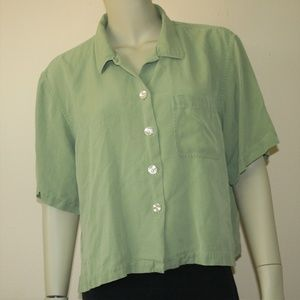 Tommy Bahama Green Silk Boxy Cropped Top Large